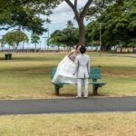 Oahu, Honolulu, Brautpaar auf Magic Island