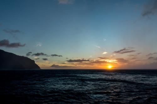 Kauai, Sonnenuntergang an der Napali-Küste