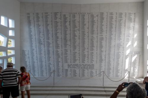 USS Arizona Memorial, Namen der mit dem Schiff Untergegangenen