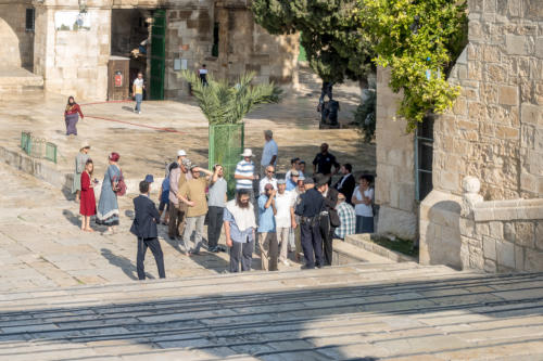 Jerusalem - Nationalreligiöse jüdische Gruppe auf dem Tempelberg