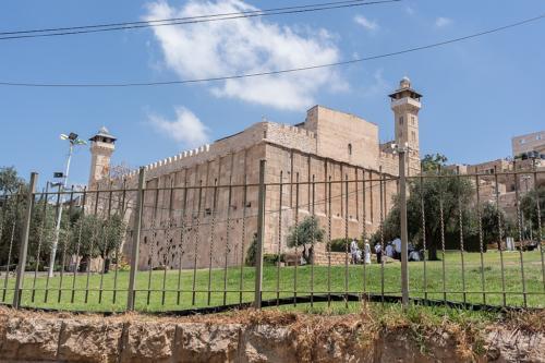 Hebron: Machpelah, Siedler auf der Wiese unter dem Baum