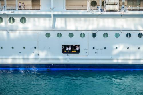 Anlegemanöver der Oasis of the Seas in Philipsburg/Sint Maarten
