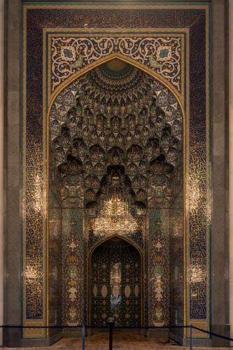Sultan Qaboos Moschee, Mihrab (Gebetsnische Richtung Mekka (Qibla))