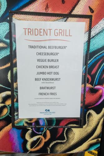 Coral Princess: Speisekarte des Trident Grills